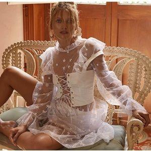 For Love And Lemons Dresses - For Love & Lemons Claudia Ruffle Tulle Midi Dress